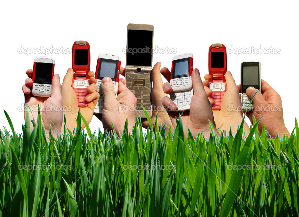 Many hands holding mobile phones  — Stock Photo #1068354