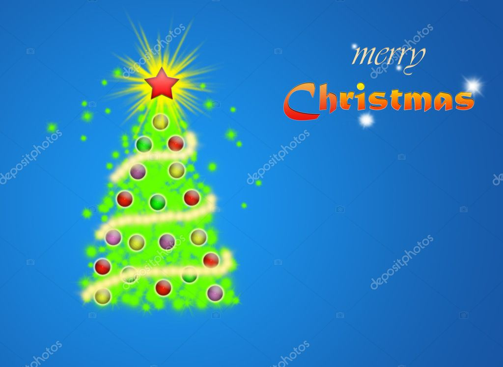  Christmas tree illustration on  blue background  Stock Photo #1096509