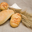 Bakery foods and wheat — Stock Photo