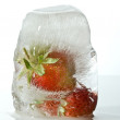 Strawberry in ice — Stock Photo
