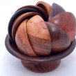 Stock Photo: Wooden bowl with wooden cups
