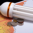 Stock Photo: Fluorescent lamp with chart