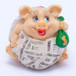 Children's ceramic piggy bank. — Stock Photo