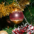 Decorated Christmas tree closeup — Stock Photo