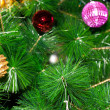 Stock Photo: Decorated Christmas tree closeup