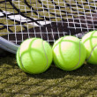 Tennis balls and racquet — Foto de Stock