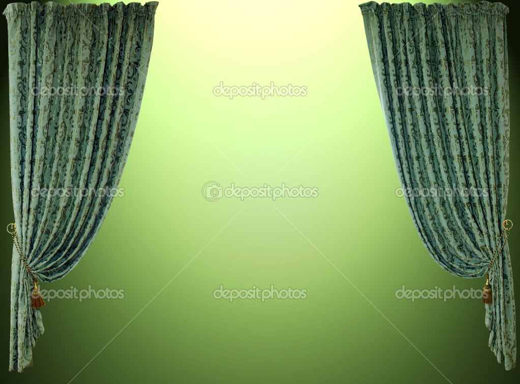 Theatrical curtain.Isolated on green — Stock Photo #1070157