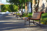 Walkway with benches — Stock Photo