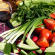 Vegetables and wine — Stock Photo