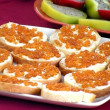 Sandwiches with red caviar — Stock Photo #1437395