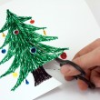 Cut paper Christmas tree — Stock Photo #1296094