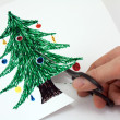 Cut paper a Christmas tree — Stock Photo