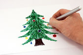 Drawing a Christmas tree markers — Stock Photo