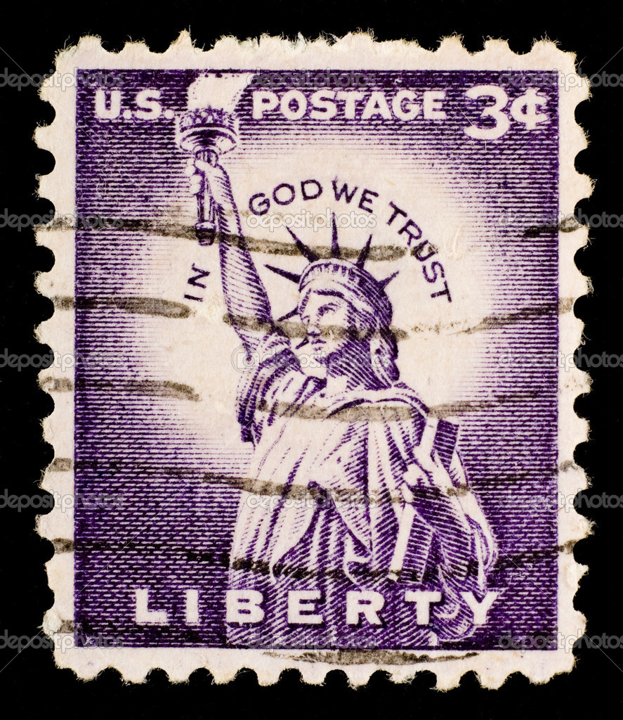 The vintage postage stamp has