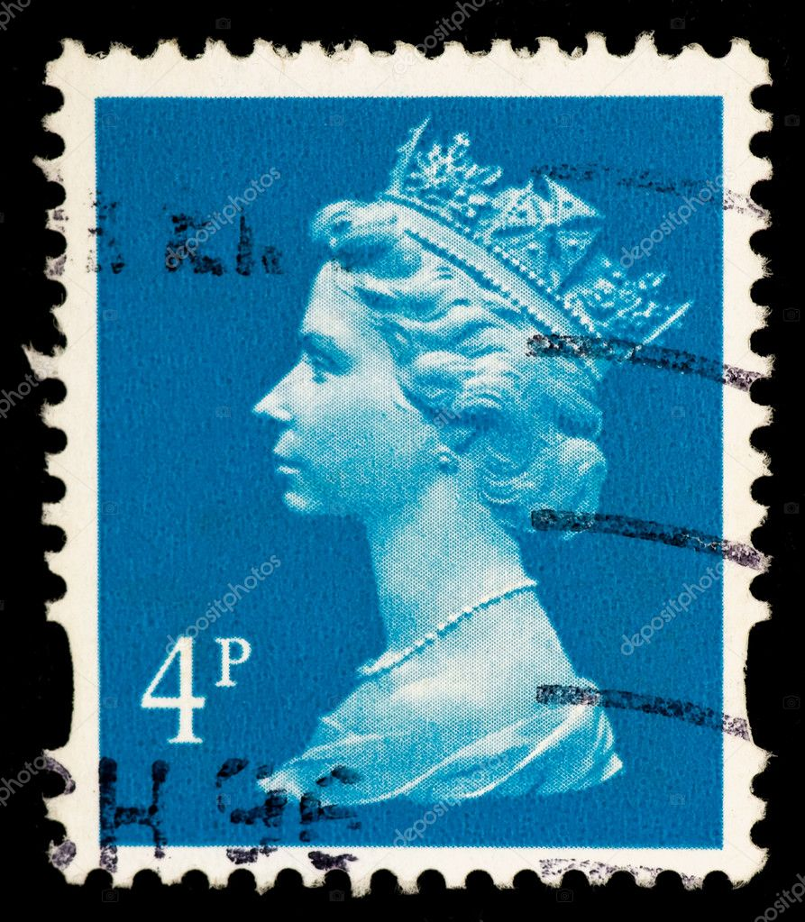 A stamp printed in the UK shows  Queen Elizabeth II — Stock Photo #1138857