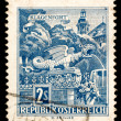 Vintage Austrian postage stamp - Stock Photo
