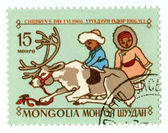 Old Mongolian postage stamp — Stock Photo
