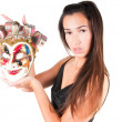 Woman in carnival mask — Stockfoto