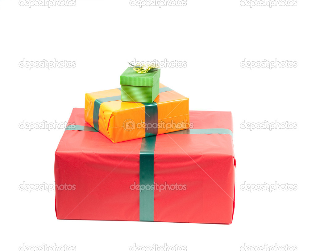 Studio shot of boxes with presents, isolated on white — Stock Photo #1097328