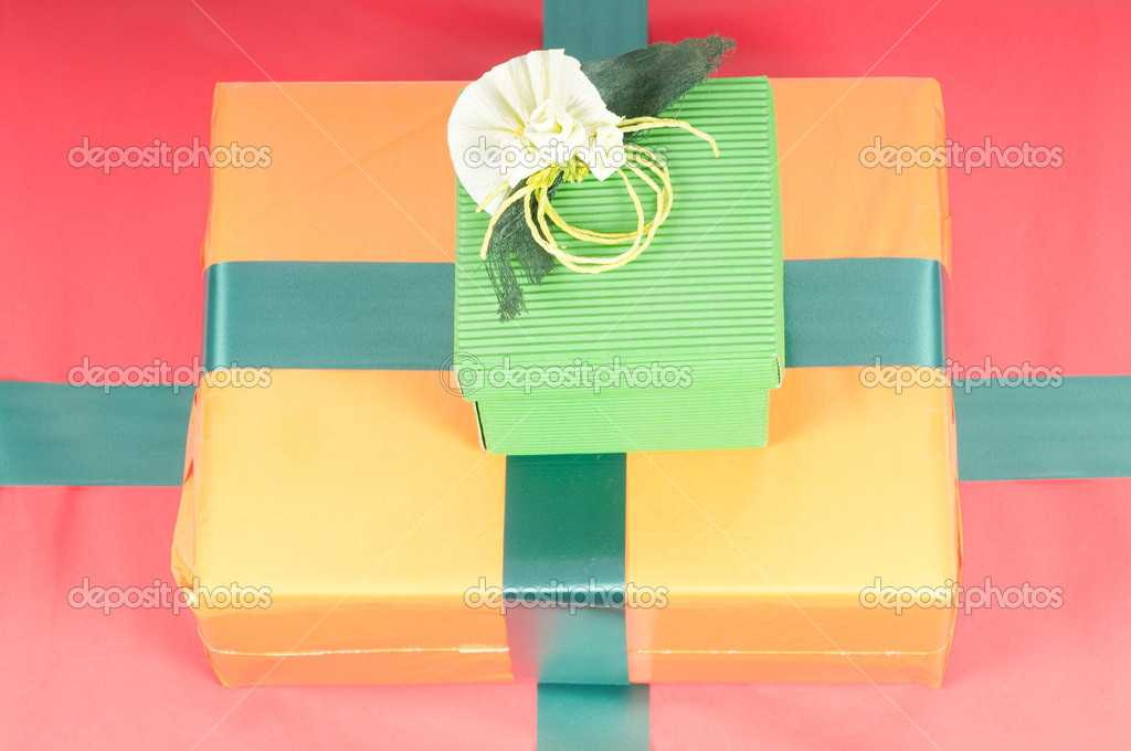 Studio shot of boxes with presents, isolated on white — Stock Photo #1097418