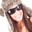 Woman in fur hat — Stock Photo