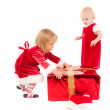 Two cristmas baby girls — Stock Photo