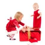 Two cristmas baby girls — Stock Photo