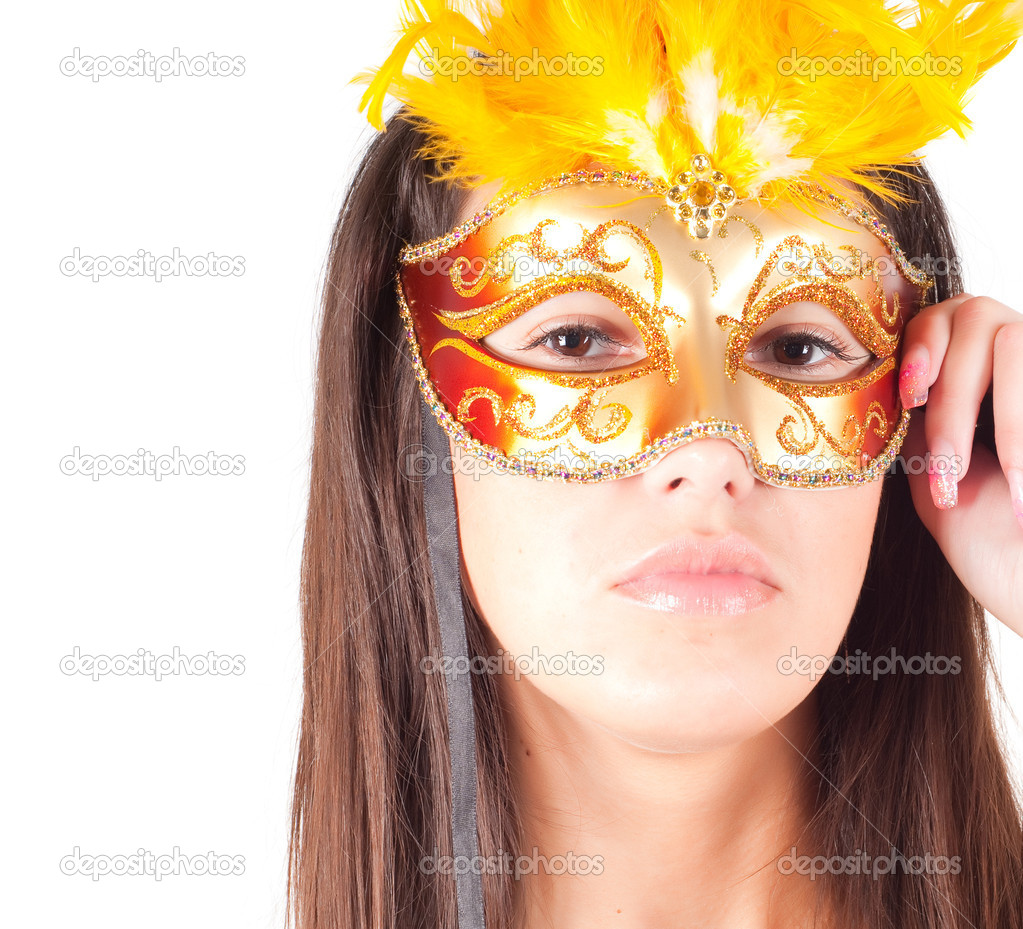 Shot of brunette woman in carnival mask — Stock Photo #1127348