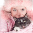 Stock Photo: Woman with cat