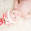 Stock Photo: Newborn baby in chritstmas hat