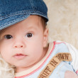Trendy newborn boy - Stock Photo