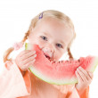 Girl eating watermelon — Stock Photo #1326749