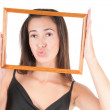 Stock Photo: Womwith frame