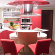Red modern kitchen - Stockfoto