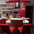 Stock Photo: Red modern kitchen.