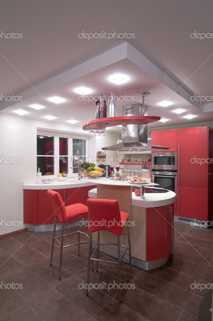Red modern kitchen. Interiors. Cupboard. Table top.    #1709655