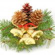 Jingle Bells and fir cones — Stock Photo