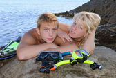 Young man and girl — Stock Photo