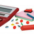 Stock Photo: Calculator and office accessories