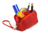Handbag with cosmetics — Stock Photo