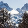 High mountains under snow in the winte - Stock Photo