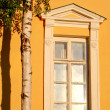 Window and yellow wall — Stock Photo