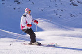 Skier at the turn — Stock Photo