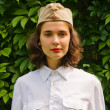 Girl wearing a soviet soldier cap — Stock Photo #1270014