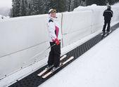Skier tape ski lift — Stock Photo