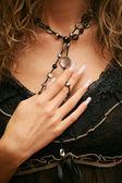 Hand, nails, manicure, beads — Stock Photo