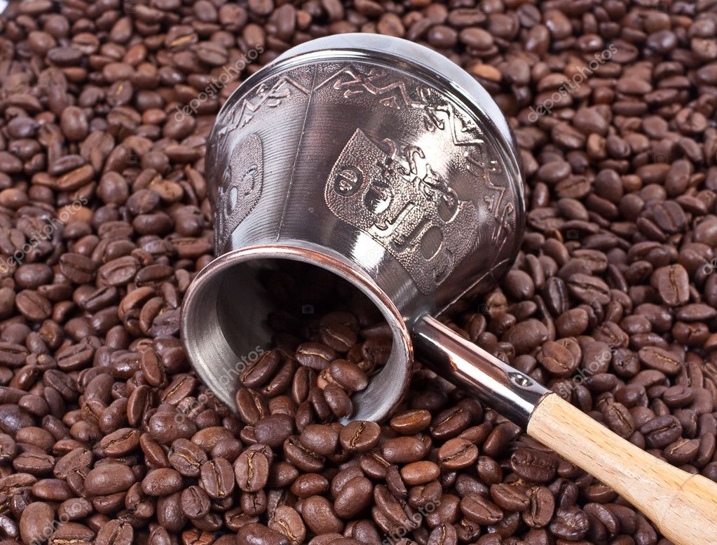 Bean coffee and turkish pot  Stock Photo #1453993