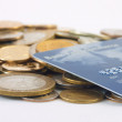 Stock Photo: Metal coins and credit cards