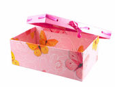 Pink gift box and ribbon isolated on whi — Stock Photo