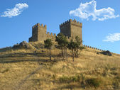 Ancient stone castle on the hill — Stock Photo